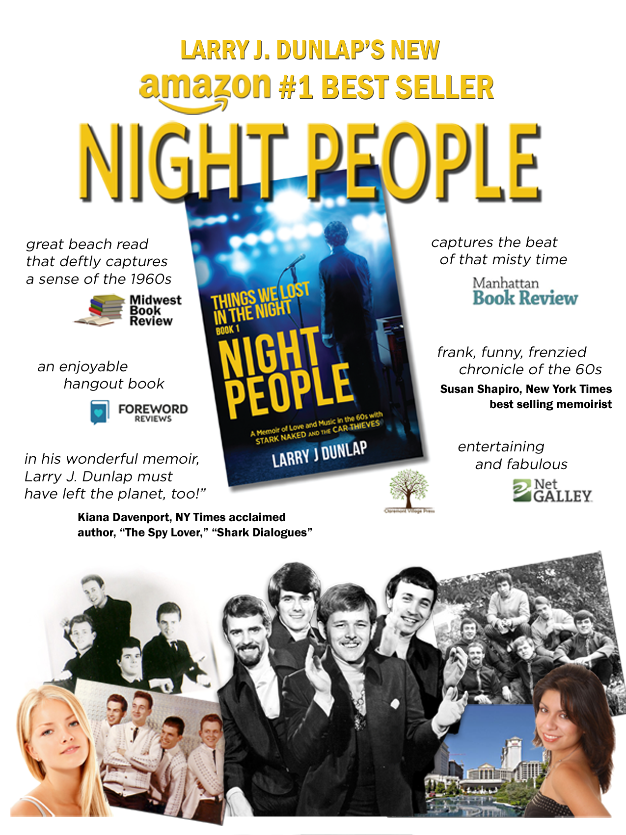 Night People, Book Signing - Book 1 - Things We Lost in the Night, a memoir of love and music in the 60s with Stark Naked and the Car Thieves